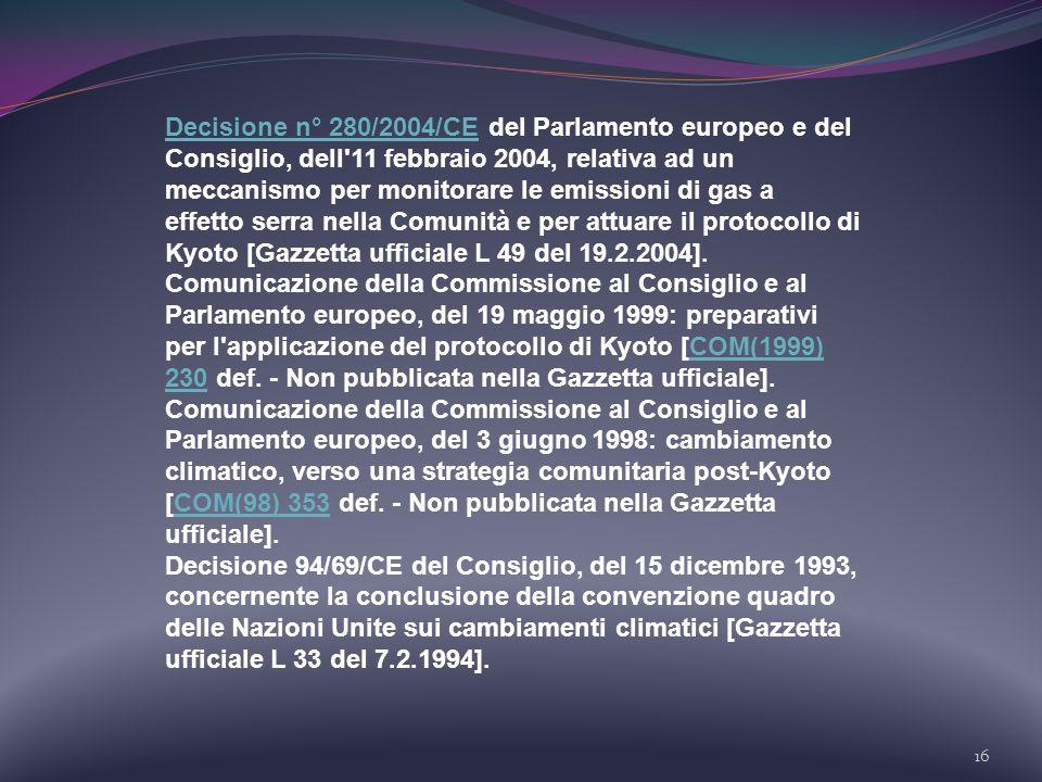 Decisione n° 280/2004/CE del Parlamento europeo e del Consiglio, dell 11 febbraio 2004, relativa ad un meccanismo per monitorare le emissioni di gas a effetto serra nella Comunità e per attuare il protocollo di Kyoto [Gazzetta ufficiale L 49 del 19.2.2004].